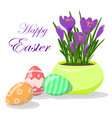 easter eggs and violet crocuses in yellow pot vector image