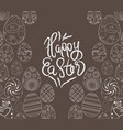 easter eggs hand drawn on chalk board vector image
