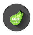eco friendly green leaf flat with long shadow vector image vector image