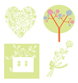 Eco set with tree heart house vector image