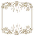 emblem frame with flowers vector image