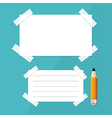 Empty White Paper Sheet with Stickers and Pencil vector image vector image