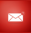 envelope with question mark icon on red background vector image vector image