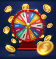 fortune wheel and gold coins lucky chance in game vector image vector image