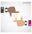 Hands of businessman and light bulb sign vector image