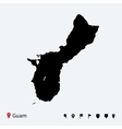 High detailed map of Guam with navigation pins vector image vector image