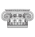 ionic capital design vintage engraving vector image vector image