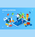 isometric screen for sport healthy nutrition app vector image vector image
