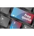Keyboard with free quote button business concept vector image