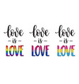 love is love slogan lettering vector image