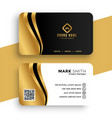 luxury business card with golden wave design vector image vector image