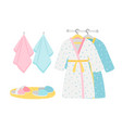 male and female bathrobes slippers and towels vector image vector image