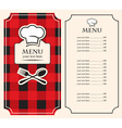 Menu on black red vector image