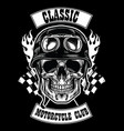 motorcycle club badge with skull wearing helmet vector image vector image
