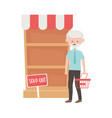 old man shopping with basket shelf and sold out vector image