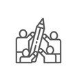 people hold big pencil line icon vector image