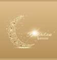 ramadan kareem text greetings background golden vector image