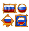 russia flag on different frames vector image vector image