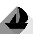 sail boat sign black icon with two flat vector image