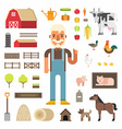 set icons and in flat design style profession vector image vector image