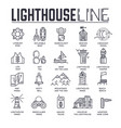 set lighthouses lifeguard equipment thin line vector image vector image