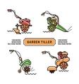 Set logos Garden Tiller thin line art style vector image