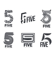 Set of black and white number five logo templates vector image vector image