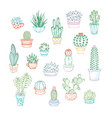 set of linear icons of cacti and succulents vector image