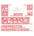 set of sale valentines day web banner graphic vector image