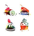 Set of watercolor sweet cake silhouettes vector image