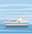 speed boat yacht on seascape background cartoon vector image vector image