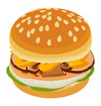 tasty burger icon isometric style vector image vector image