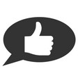 thumb up message flat icon vector image vector image