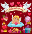 valentine day cupid angel and love heart on cloud vector image vector image
