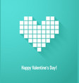 valentines day card with abstract pixel heart vector image
