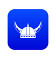 viking helmet icon digital blue vector image vector image