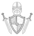 viking warrior set - shield swords and helmet vector image