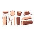 wood materials cartoon lumber log and tree trunk vector image