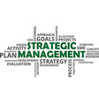 word cloud strategic management vector image vector image