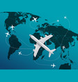 world travel concept with aircrafts vector image vector image