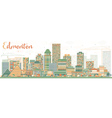 Abstract Edmonton Skyline with Color Buildings vector image vector image