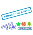 Around The Earth Rubber Stamp vector image vector image