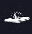 astronaut in a flying saucer vector image