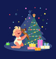 baby rejoices near xmas tree vector image