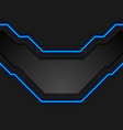black technology background with blue neon lines vector image vector image