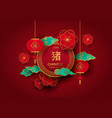 chinese new year of pig red and gold paper card vector image