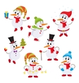 Christmas set of cute and funny little snowmen vector image