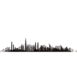 cityscape with trees black vector image