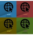 Color set globe Flat modern web button with long vector image vector image