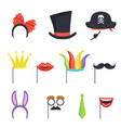 colorful set with various carnival accessories vector image vector image
